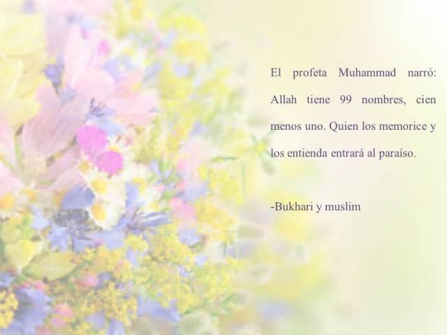 hadith sobre los 99 nombres de Allah bukhari y muslim